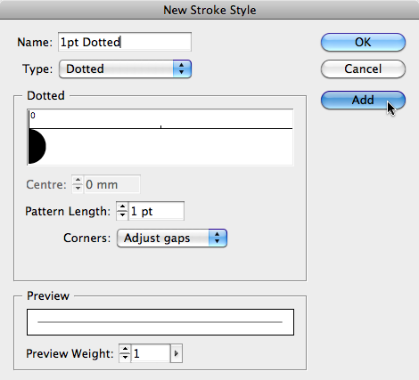 New stroke style dialog box, with Dotted Type selected=