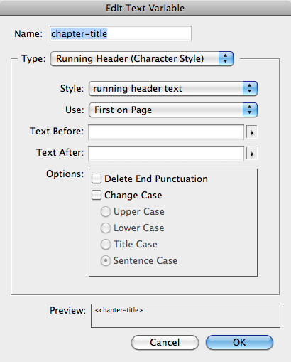 Text Variable Edit dialog, with Running Header (Character Style) selected