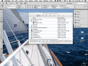 """InDesign without the Application Frame. Note that you can see the desktop items """"through"""" InDesign."""
