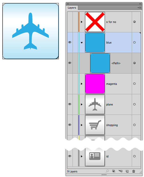 The icons set on their own layers in Adobe Illustrator.