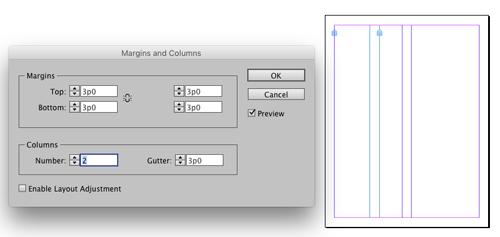 indesign unequal columns dialog box