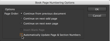 book page numbering options