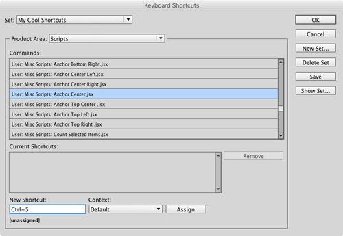 InDesign custom keyboard shortcuts proxy reference point