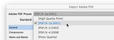 Choosing a PDF export preset