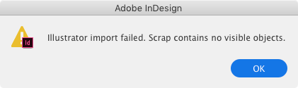 InDesign pasted graphic error message