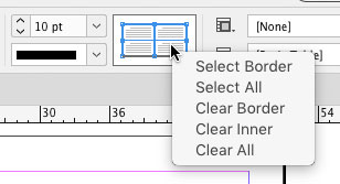 right clicking InDesign table stroke proxy in Control panel to select or clear table borders and strokes
