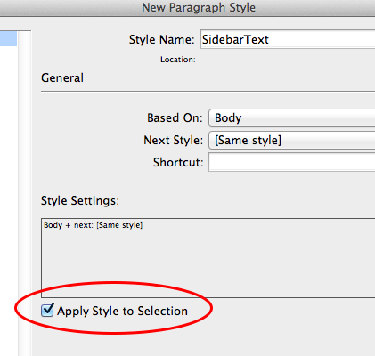 Apply Style to Selection